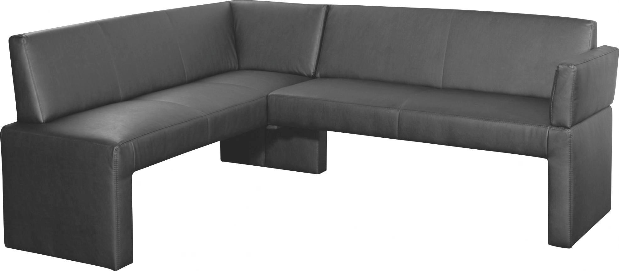 ECKBANK Lederlook Schwarz - Schwarz, Design, Kunststoff/Textil (171/84/212cm)