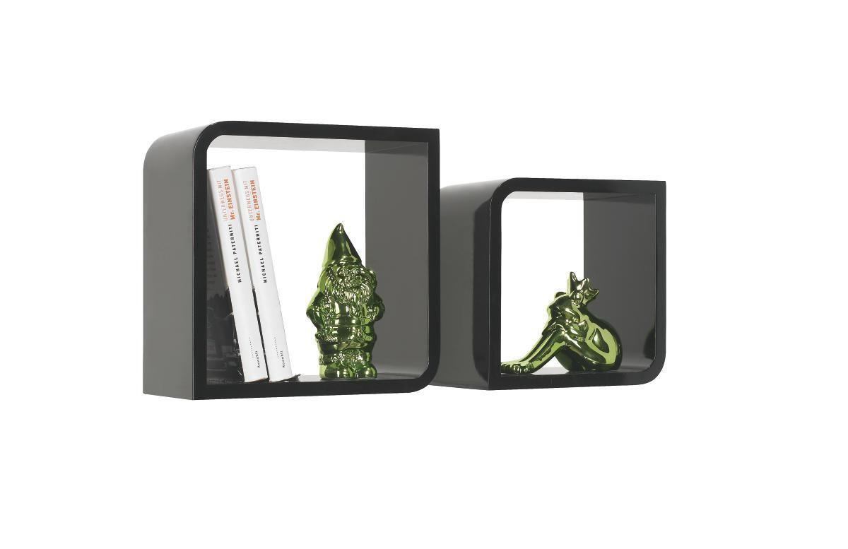 SET ZIDNIH POLICA - crna, Design, drvni materijal (28/23/28/23/15cm) - BOXXX