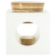 AROMALAMPA - bílá/světle hnědá, Basics, dřevo/keramika (12/12/15cm)