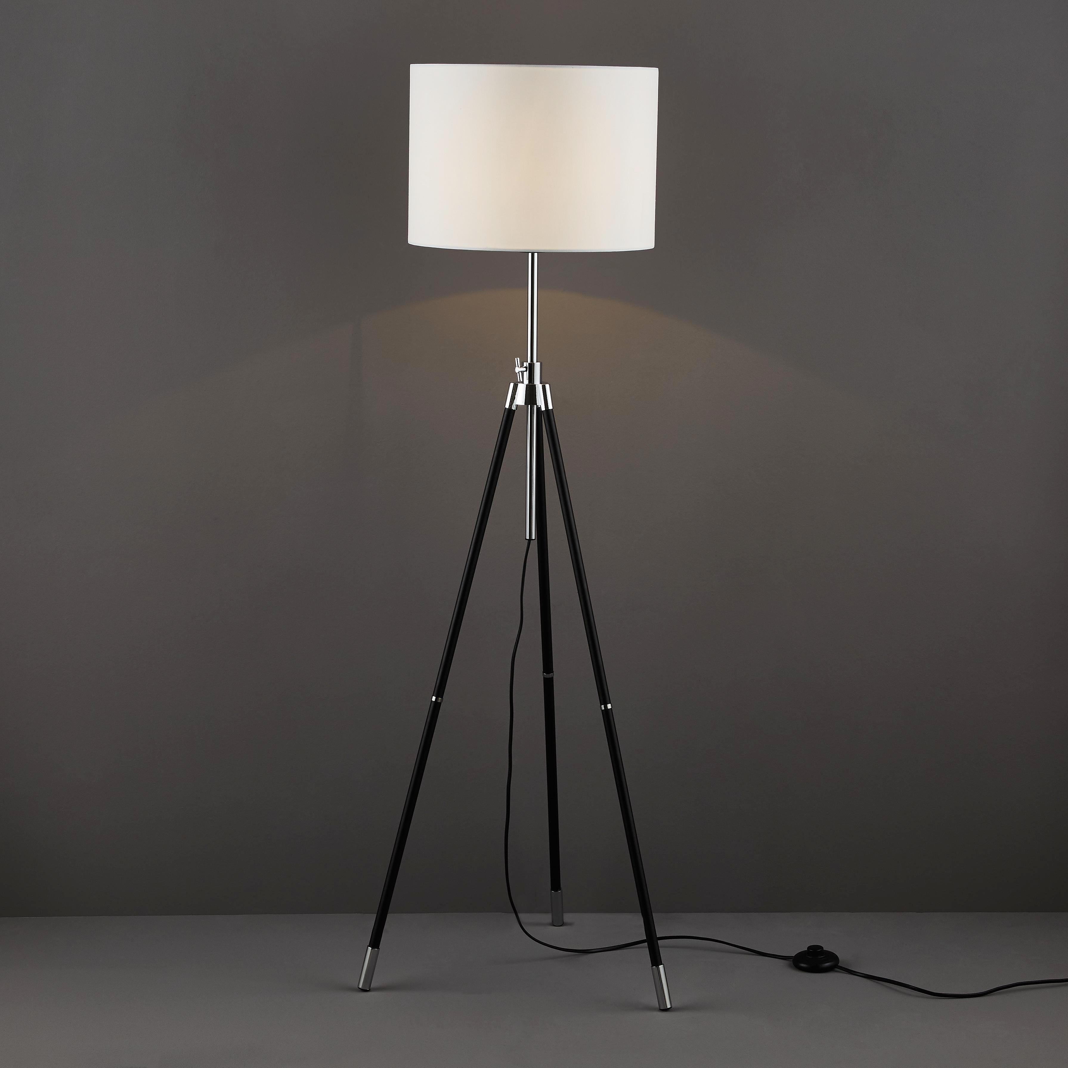 STEHLEUCHTE - Schwarz/Weiß, LIFESTYLE, Textil/Metall (35/134,5cm) - NOVEL