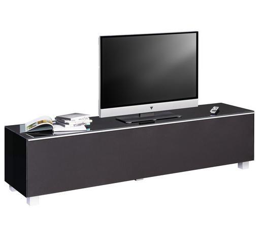 TV-ELEMENT 180/43/42 cm  - Alufarben/Schwarz, Design, Glas/Holzwerkstoff (180/43/42cm)