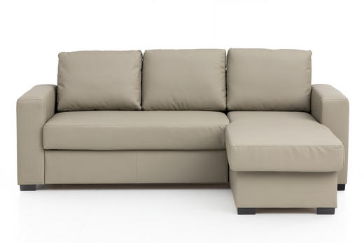 WOHNLANDSCHAFT Beige, Schwarz Lederlook - Beige/Schwarz, Basics, Kunststoff/Textil (220/150cm) - Carryhome