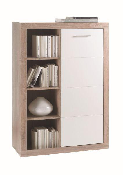 KOMODA - bijela/boje hrasta, Design, drvni materijal/drvo (92/134/37cm) - XORA