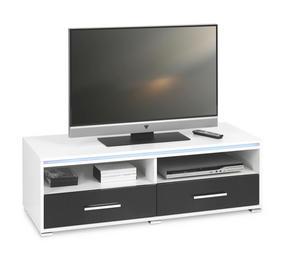 MEDIABÄNK - vit/silver, Design, träbaserade material/plast (116/38/45cm) - Low Price
