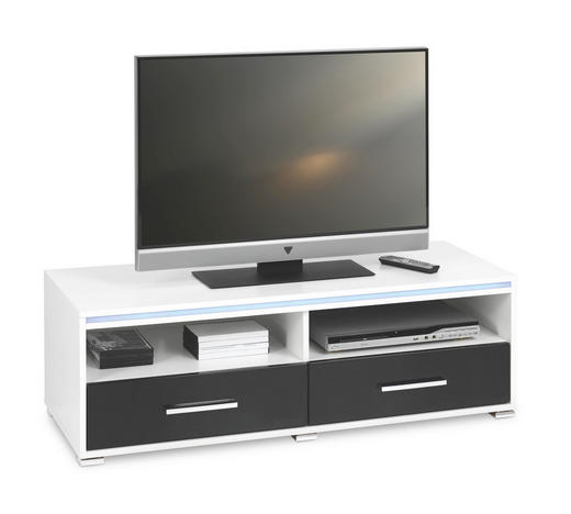 TV-ELEMENT Schwarz, Weiß - Silberfarben/Schwarz, Design, Kunststoff (116/38/45cm)