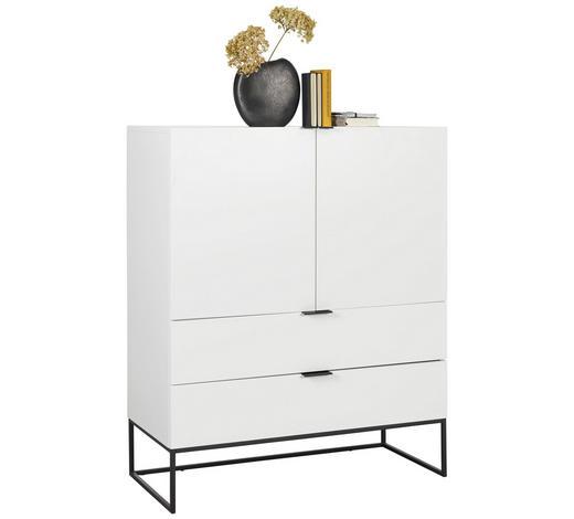 KOMODA, bílá - bílá/černá, Design, kov/kompozitní dřevo (100/120/45cm) - Ambia Home