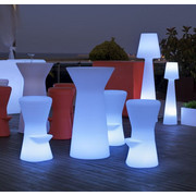 LED HOCKER CORFU 74 - Weiß, Design, Kunststoff (37/74cm)