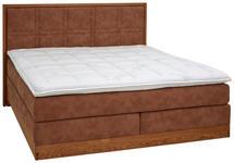 BOXSPRINGBETT 180/200 cm  INKL. Matratze, Topper  - Hellbraun/Eichefarben, KONVENTIONELL, Holz/Textil (180/200cm) - Valnatura
