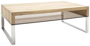 COUCHTISCH in Holz, Metall, Glas 110/70/39 cm   - Edelstahlfarben/Eichefarben, MODERN, Glas/Holz (110/70/39cm) - Novel