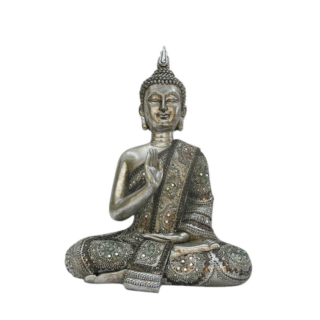 Image of Ambia Home Buddha 19/30 cm , Ny9351700 - Small , Silberfarben , Kunststoff , 19x30 cm , lackiert , zum Stellen, handgemacht , 0083060183