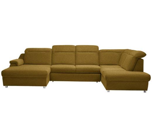 WOHNLANDSCHAFT in Textil Gelb  - Chromfarben/Gelb, KONVENTIONELL, Kunststoff/Textil (193/363/223cm) - Welnova