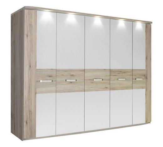 DREHTÜRENSCHRANK 5-türig Weiß, Eichefarben - Edelstahlfarben/Eichefarben, Design, Holzwerkstoff/Metall (250/214/59cm) - Carryhome