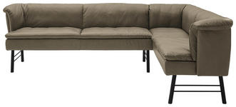 ECKBANK 224/218 cm  in Anthrazit, Taupe  - Taupe/Anthrazit, KONVENTIONELL, Leder/Metall (224/218cm) - Valnatura