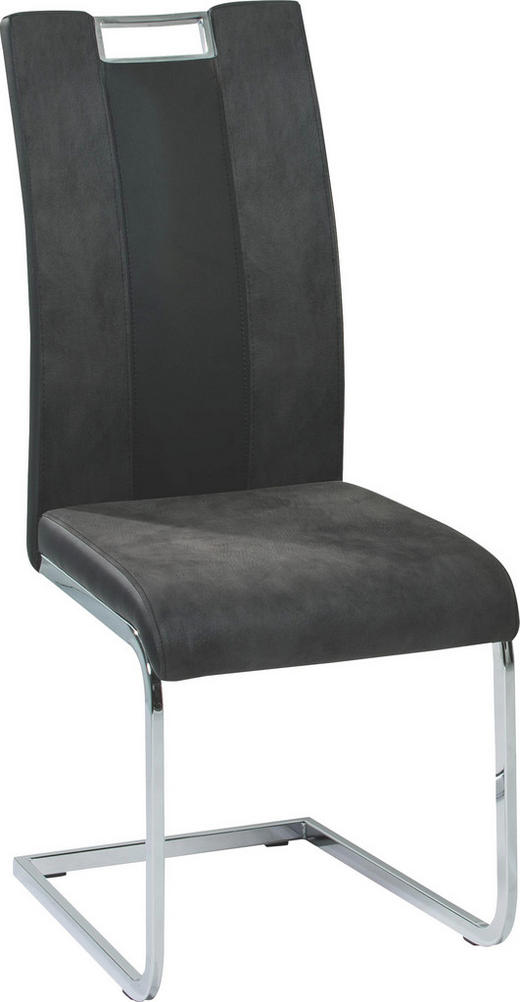 SCHWINGSTUHL Lederlook, Mikrofaser Grau, Schwarz - Schwarz/Grau, Design, Textil/Metall (43/100/52cm) - CARRYHOME
