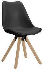 STUHL in Holz, Kunststoff, Leder, Metall Eichefarben, Grau - Eichefarben/Grau, Design, Leder/Holz (48/82/56cm) - Carryhome