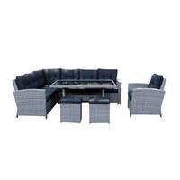 VRTNI SET tkanina pletivo iz umetne mase, polietilen (PE) aluminij - siva/črna, Design, kovina/umetna masa (250/190cm) - Ambia Garden