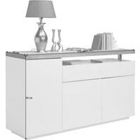 KOMODA - bílá/barvy dubu, Design, kov/dřevo (170/92/43cm) - Novel