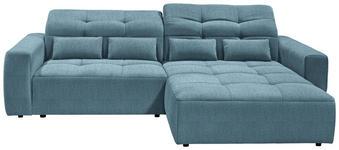 WOHNLANDSCHAFT in Textil Blau  - Blau/Schwarz, MODERN, Kunststoff/Textil (298/202cm) - Hom`in