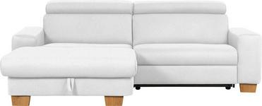 WOHNLANDSCHAFT Mikrofaser Schlaffunktion - Eichefarben/Weiß, Design, Textil (178/262cm) - Hom`in