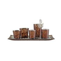 TEELICHTHALTER - Braun, Basics, Glas/Metall (36/19/1,8cm) - Ambia Home