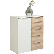 KOMMODE in Eichefarben, Weiß - Eichefarben/Alufarben, Design, Holzwerkstoff/Metall (81/92/41cm) - CARRYHOME
