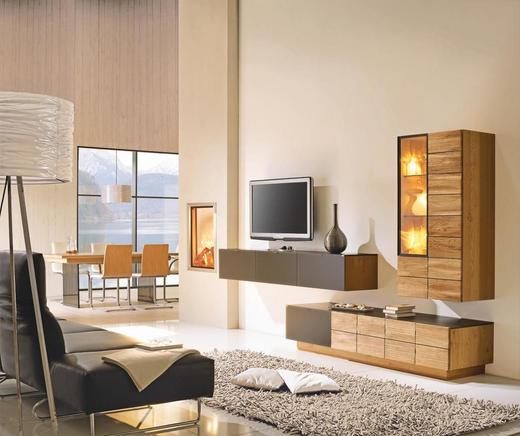 WOHNWAND Wildeiche massiv, mehrschichtige Massivholzplatte (Tischlerplatte) Eichefarben - Eichefarben, Design, Glas/Holz (320/186/56cm) - Voglauer