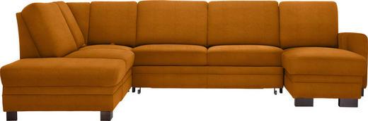 WOHNLANDSCHAFT in Textil Gelb - Dunkelbraun/Gelb, KONVENTIONELL, Holz/Textil (241/319/163cm) - Beldomo System