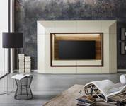 WOHNWAND Nussbaum furniert Weiß, Nussbaumfarben  - Nussbaumfarben/Schwarz, Design, Glas/Holz (300/200/50cm) - Ambiente