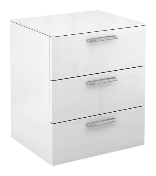 NACHTKÄSTCHEN Hochglanz Weiß - Chromfarben/Weiß, Basics, Glas (50/58,8/40,1cm) - Hülsta