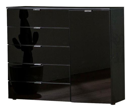 KOMMODE Schwarz - Chromfarben/Schwarz, Design, Glas/Holzwerkstoff (130/100/42cm) - SetOne by Musterring
