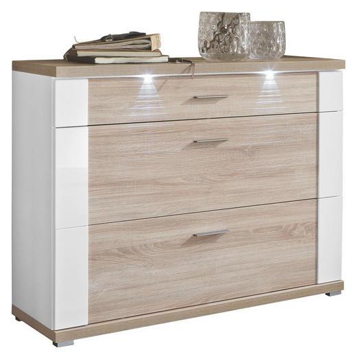 SCHUHSCHRANK - Edelstahlfarben/Eichefarben, Design, Holzwerkstoff (129/108/42cm) - Xora