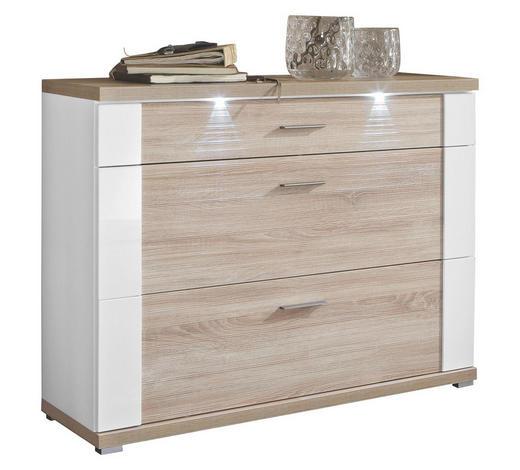 SCHUHSCHRANK sägerau Weiß, Eichefarben  - Edelstahlfarben/Eichefarben, Design (129/108/42cm) - Xora