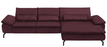 WOHNLANDSCHAFT in Textil Weinrot  - Weinrot/Schwarz, Design, Textil/Metall (341/181cm) - Dieter Knoll