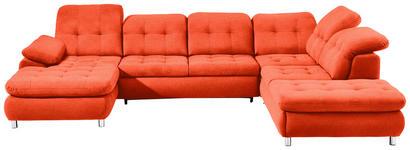 WOHNLANDSCHAFT in Rot Textil - Chromfarben/Rot, Design, Kunststoff/Textil (190/354/260cm) - Hom`in