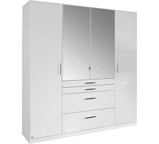 KLEIDERSCHRANK in Weiß  - Chromfarben/Weiß, Design, Glas/Holzwerkstoff (181/197/54cm) - Carryhome
