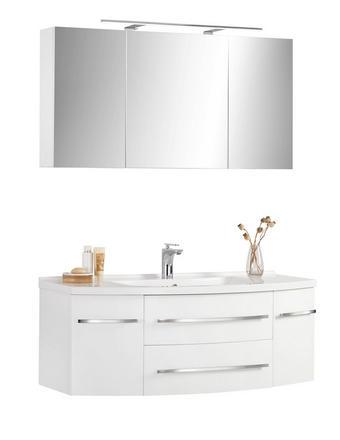 KOUPELNA - bílá, Konvenční, kámen/dřevěný materiál (120/55cm) - Xora