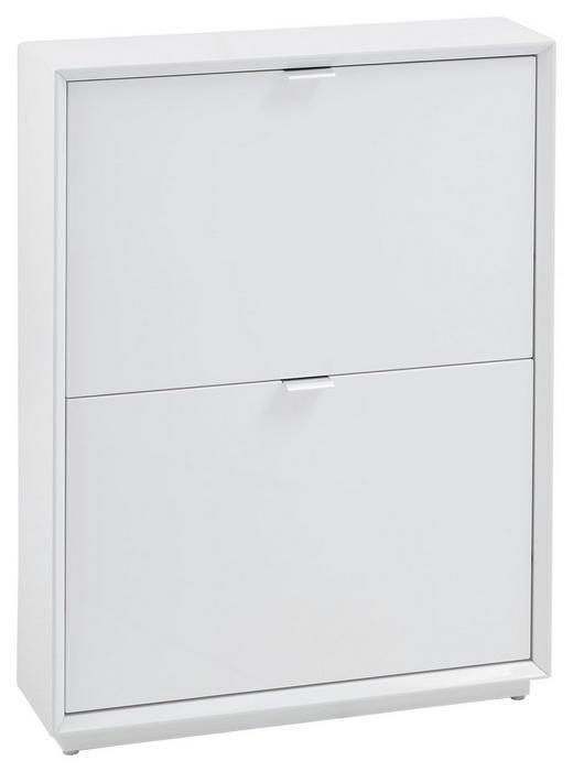 SCHUHSCHRANK Hochglanz Edelstahlfarben, Weiß - Edelstahlfarben/Weiß, Design, Metall (64,5/83,2/18cm) - Xora