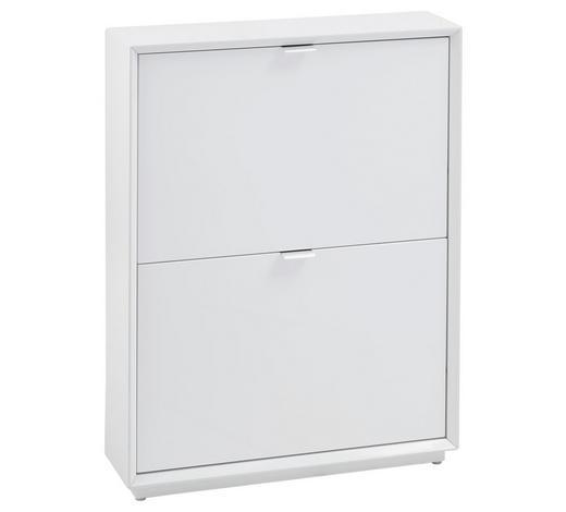 SCHUHSCHRANK Hochglanz Weiß, Edelstahlfarben  - Edelstahlfarben/Weiß, Design, Metall (64,5/83,2/18cm) - Xora