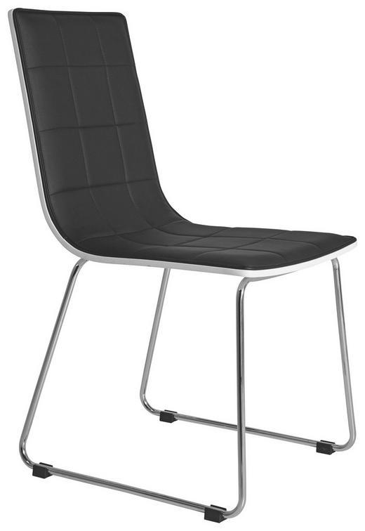 STUHL Lederlook Schwarz, Weiß - Schwarz/Weiß, Design, Textil/Metall (42/110/55cm) - KARE-Design