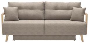 SCHLAFSOFA in Textil Beige, Eichefarben - Eichefarben/Beige, KONVENTIONELL, Holz/Textil (200/92/95cm) - Venda