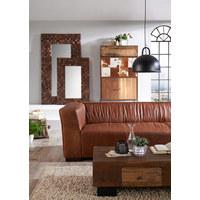 SOFA in Holz, Leder Braun  - Braun, Trend, Leder/Holz (228/72/90cm) - Ambia Home