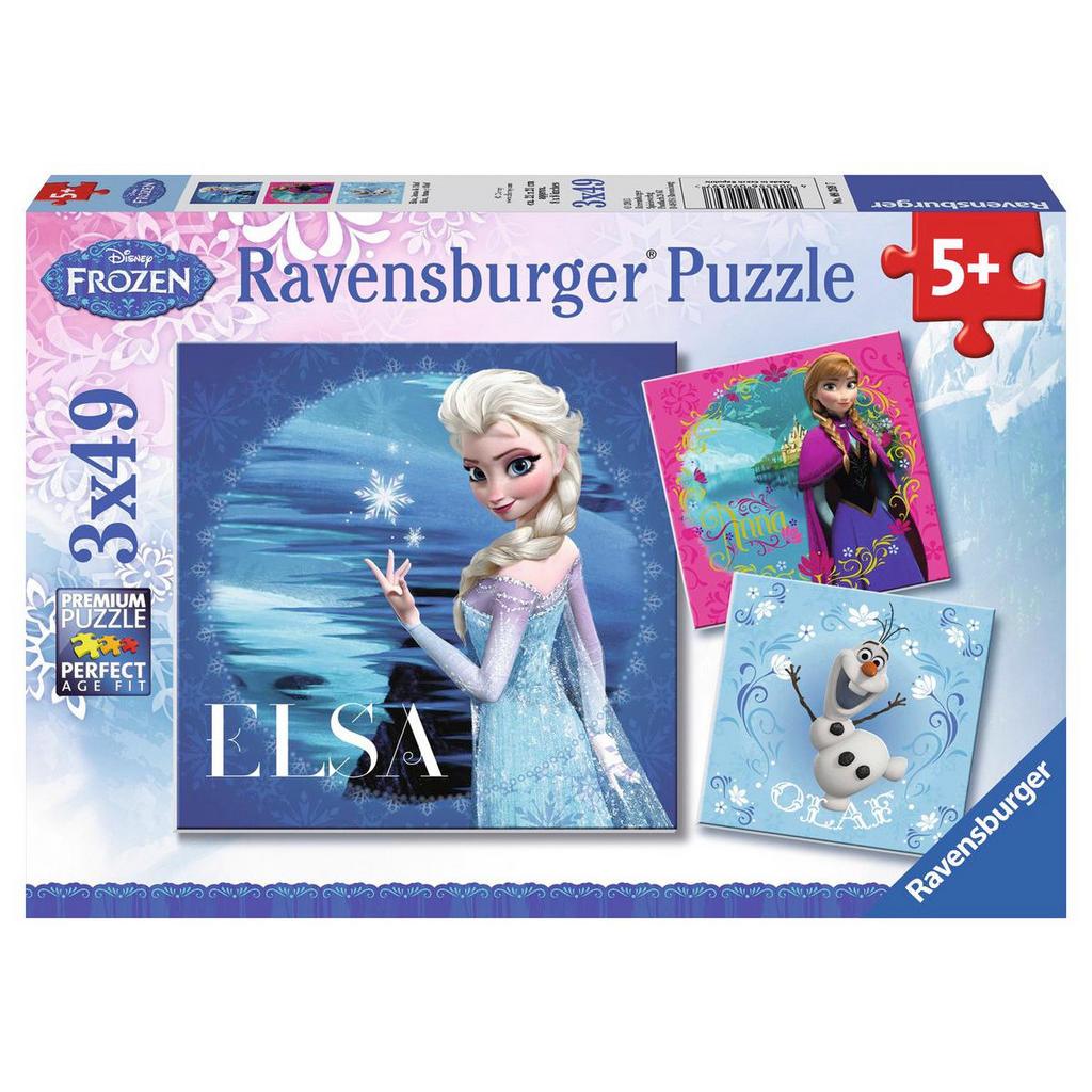 3 49-Teile-Puzzles 'Disneys Frozen' von Ravensburger