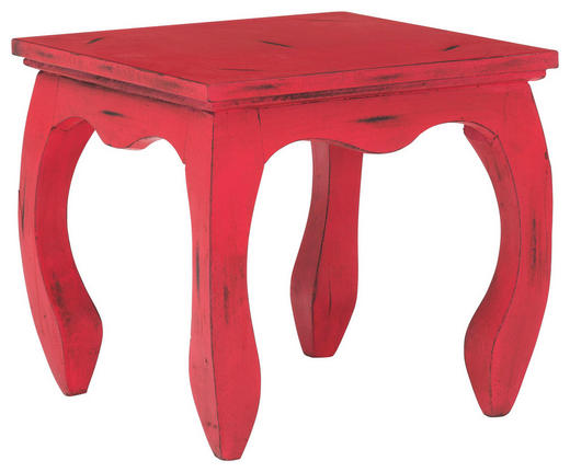 BEISTELLTISCH Mangoholz massiv quadratisch Rot - Rot, Design, Holz (35/32/35cm)