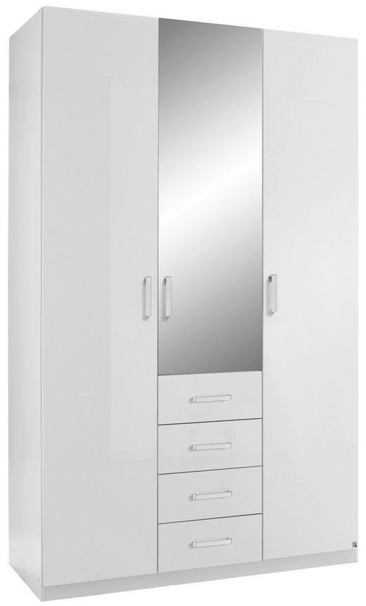DREHTÜRENSCHRANK 3-türig Weiß - Alufarben/Weiß, Design, Glas/Holzwerkstoff (136/222/60cm) - Hom`in