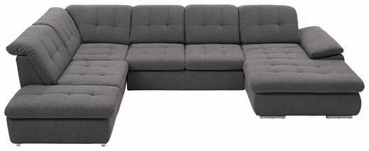 WOHNLANDSCHAFT Webstoff Kopfteilverstellung, Rücken echt - Chromfarben/Dunkelgrau, Design, Kunststoff/Textil (249/349/184cm) - Beldomo Style