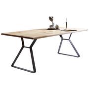 ESSTISCH in massiv Eiche Eichefarben, Schwarz - Eichefarben/Schwarz, Design, Holz/Metall (180/100/76cm) - VALNATURA