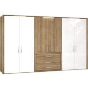 DREHTÜRENSCHRANK in Eichefarben, Weiß - Chromfarben/Eichefarben, Design, Holzwerkstoff/Metall (300/223/62cm) - Visionight