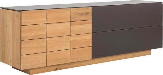 SIDEBOARD Wildeiche massiv, mehrschichtige Massivholzplatte (Tischlerplatte) geölt Braun, Eichefarben - Eichefarben/Braun, Basics, Glas/Holz (224/74/51.8cm) - VOGLAUER