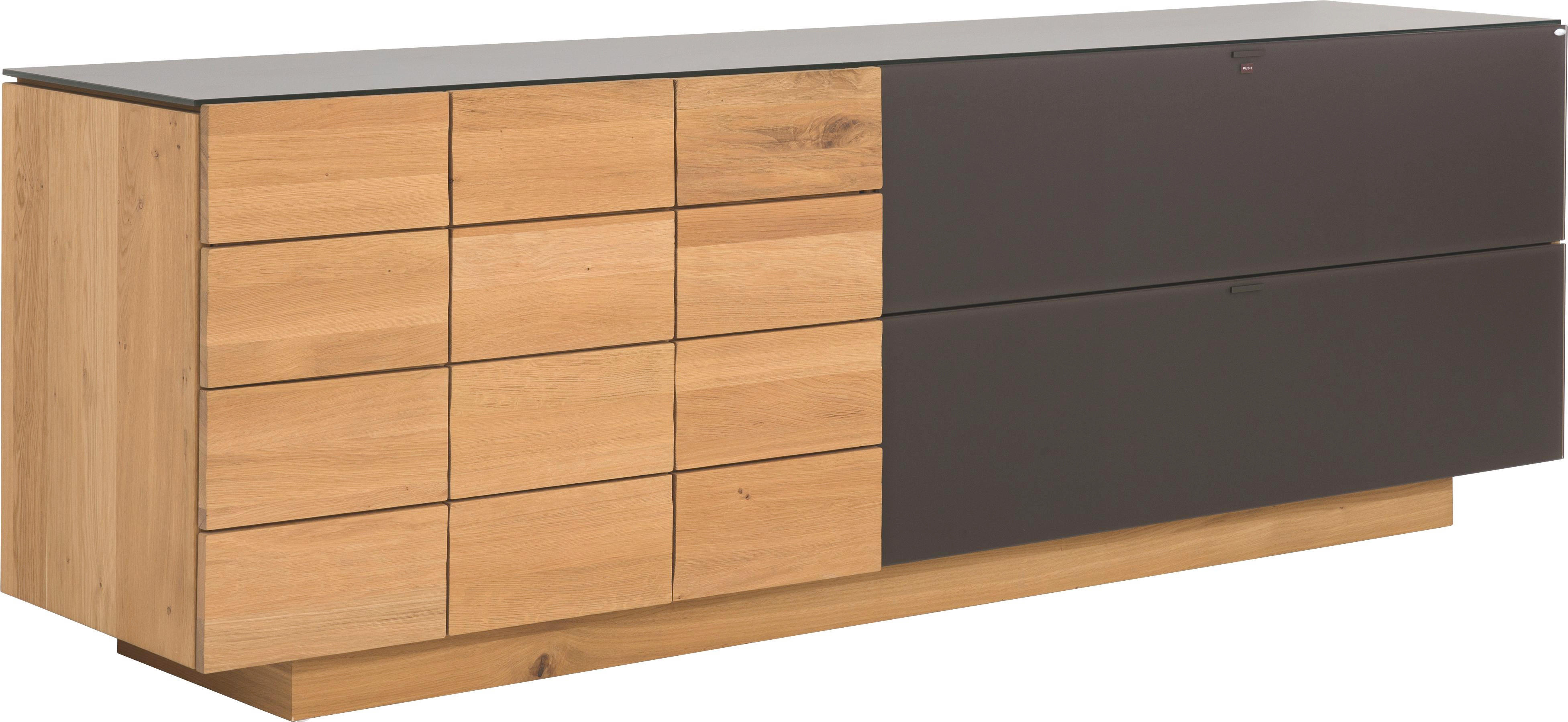 SIDEBOARD in massiv, mehrschichtige Massivholzplatte (Tischlerplatte) Wildeiche Braun, Eichefarben - Eichefarben/Braun, Design, Glas/Holz (224/73.4/51.8cm) - VOGLAUER