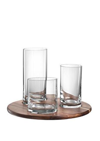 SET KOZARCEV - rjava/prozorna, steklo/les (24,00/17,00/24,00cm) - Leonardo
